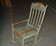 Rocking Chair: Pine, painted with cut out designs. Photo: DP