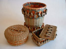 Maliseet and Mi'kmaq baskets: Split ash and sweet grass, 10 inches high. Photo: DP