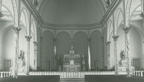 Original alter, 1910. The restoration of the altar is a work in progress.