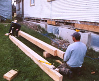 Work being done on the sills, 2003. Photo: DC